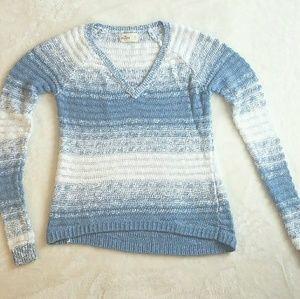 Blue and White Hollister V-Neck Sweater